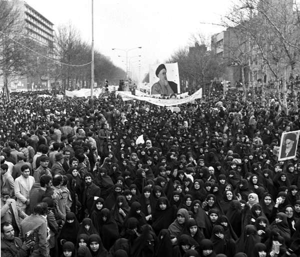 People demonstrating against ousted Shah of Iran supporting Ayatollah Khomeini back in 1979