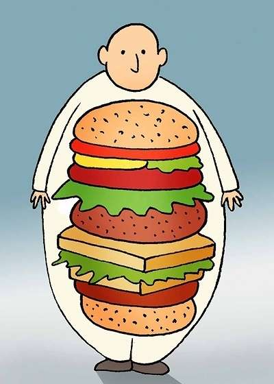 Fast food  a main cause of Obesity in Iran  Cartoon Obesity Fast Food